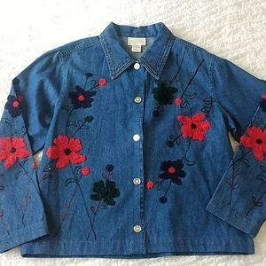 Studio Works Embroidered Top Stitch Denim Jacket M